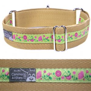 MARTINGALE DOG COLLAR - PINK AND FUSCIA FLOWER MEADOW ON APPLE GREEN